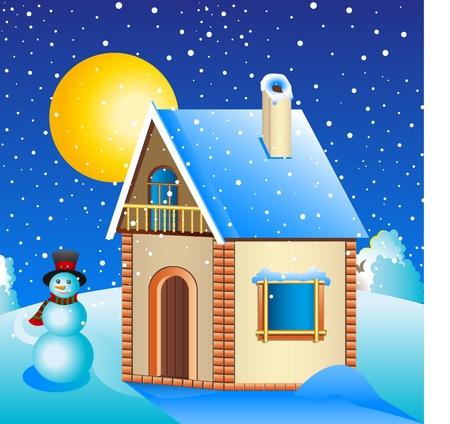 snowman cartoon: Rural house in the meadow  The snow, the moon, a snowman  Illustration