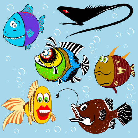 salt water fish: Cartoon fish set with facial expressions Illustration