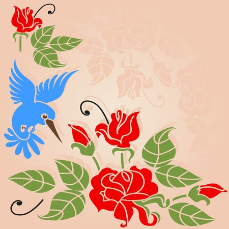 Rose bush and a bird  Stylized corner ornament  Vector