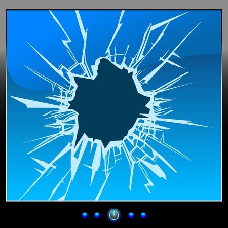 vidrio roto: Frustrado por el monitor de pantalla azul Grietas Vectores