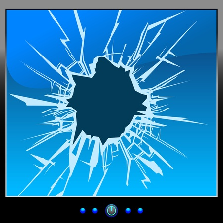 broken glass: Frustrated by the monitor  Cracks  Blue Screen  Illustration