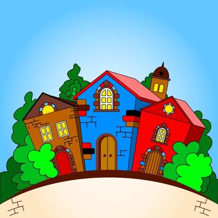 row of houses: Las casas de colores del paisaje urbano entre los �rboles