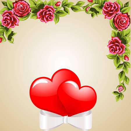 Two heart-related band  The wreath of roses  The background  Illustration