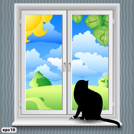cartoon window: A cat sits on the windowsill  Summer