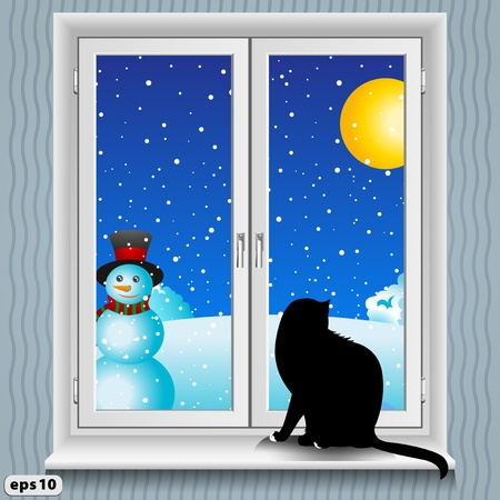 snowing: A cat sits on the windowsill  Winter  Illustration
