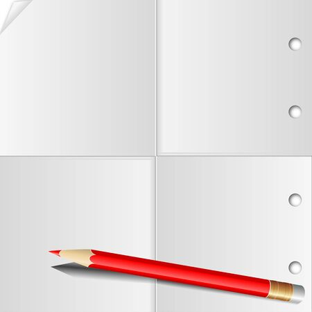 The folded sheet of paper in four and a red pencil