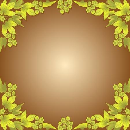 branch to grow up: Las ramas y los conos de l�pulo en un marco de fondo de color marr�n