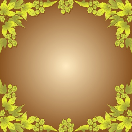 Twigs and cones of hops on a brown background  Frame  Illustration
