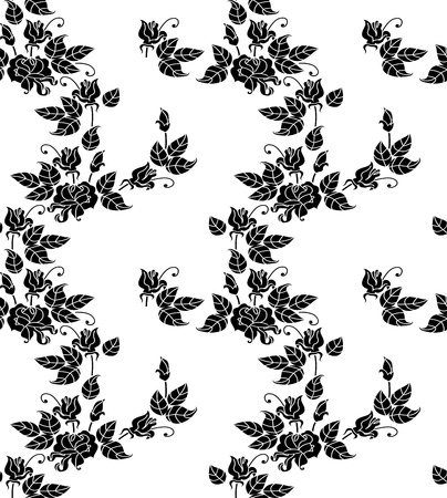 Bouquets of roses  Black and white picture  Seamlessly  Stock Vector - 12932969