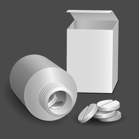 pill box: Open package, and a tube of tablets  The gray background