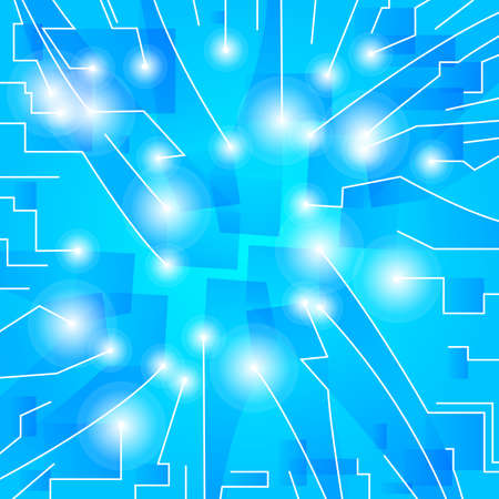 Abstract blue background  Converging three-dimensional rectangles  Perspective  Vector