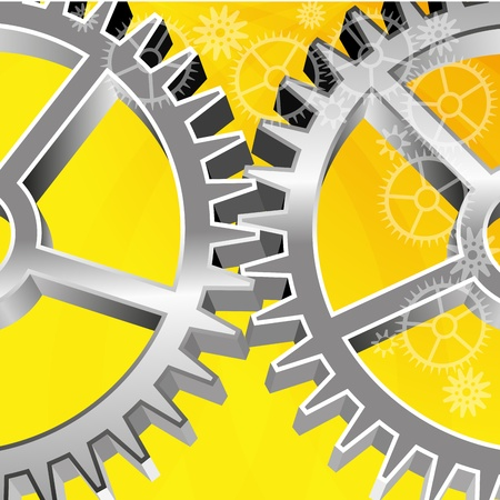 Abstract yellow background  Two large gear