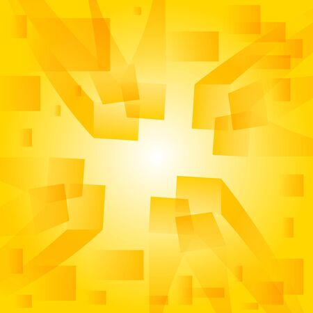 Abstract yellow background  Converging three-dimensional rectangles  Perspective  Vector