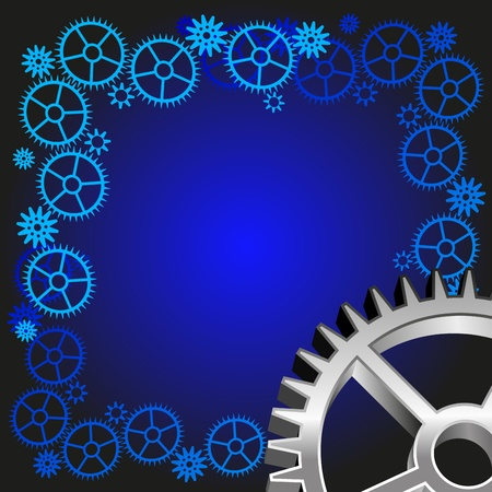 Abstract blue background  Connecting gears  The three-dimensional gear