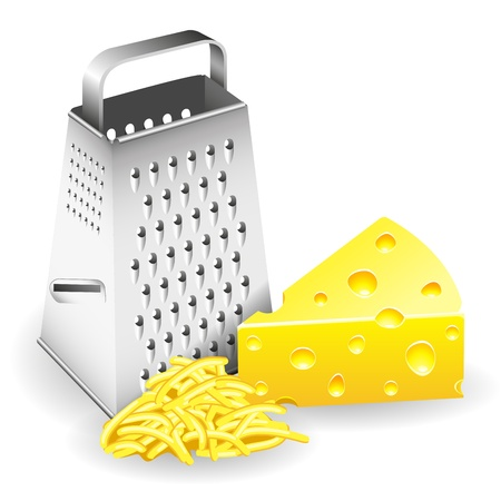cheddar cheese: A piece of cheese grater and grated cheese