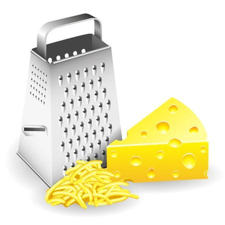 queso rayado: Un pedazo de rallador de queso y el queso rallado