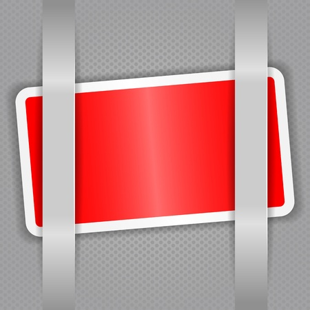 Red card against the gray cells  Gray tape  Vector