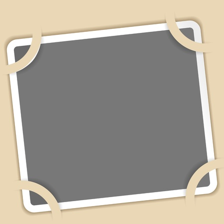 Photo on a beige background  The old photo album  Vector