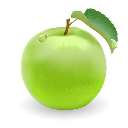 Zelené jablko s listy a kapky rosy