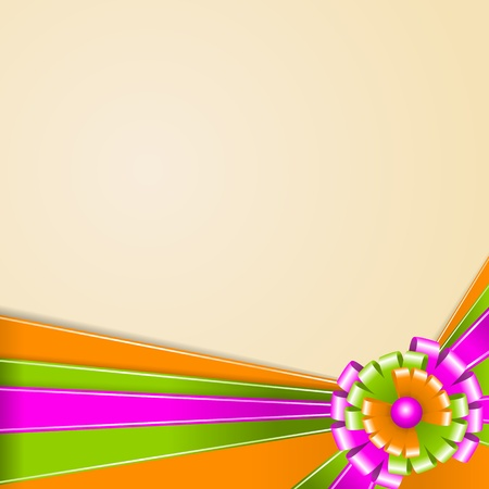 Ribbons of green, orange and pink  Multi-colored bow  Vector