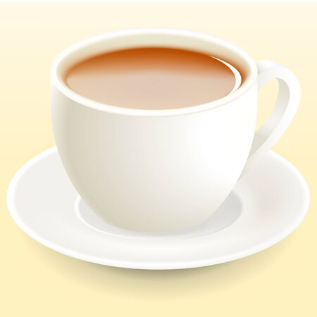 White tea cup stands on a white saucer  Vector