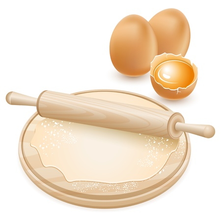 rolling: Dough and rolling pin on a wooden board  Raw chicken eggs