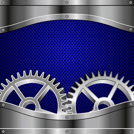 Metal plates, screws, gears  Blue metallic honeycomb  Illustration