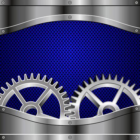 Metal plates, screws, gears  Blue metallic honeycomb  Illustration