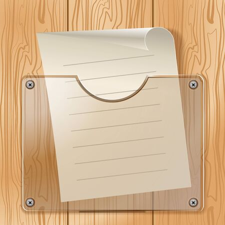 Transparent pocket and a piece of paper on the background texture of a tree  Vector