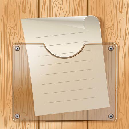 Transparentní kapsy a kus papíru, na pozadí textury stromu Ilustrace