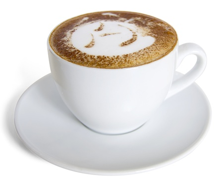 A cup of cappuccino  with  milk foam and cinnamon.