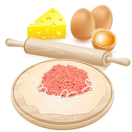 The dough and the stuffing on the board. Cheese rolling pin, and eggs. Stock Photo - 13573327