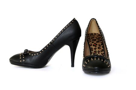 Black womens shoes on a white background
