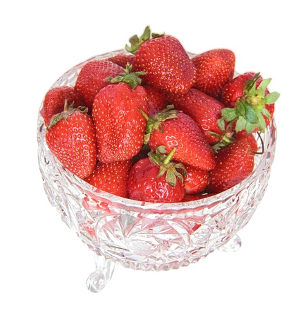 Strawberry in a crystal vase. It is isolated. Stock Photo - 13573324