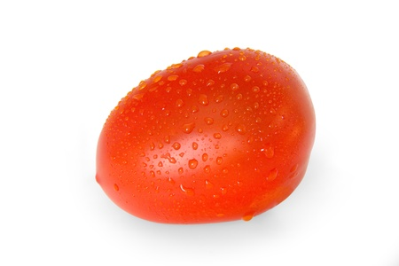 comestible: One tomato in the drops of dew closeup.