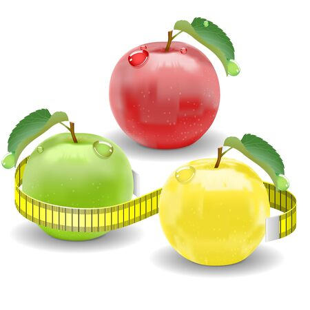 Red, yellow and green apples  Tape to measure