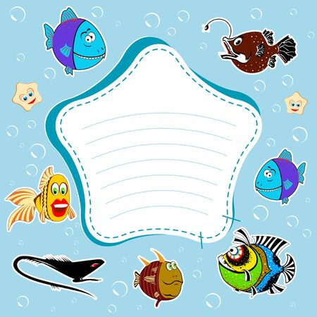 Blue background, bubbles, fish  The frame, place for text  photo