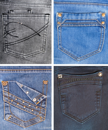 cloth back: A collection of jeans pockets of different colors  Stock Photo