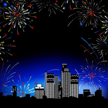 Night landscape, Fireworks. Multi-storey buildings. Background. Stock Photo