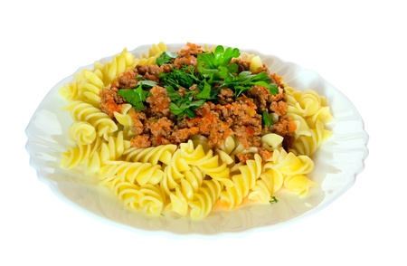Pasta, meat sauce, fresh herbs and spices  The traditional dish  Stock Photo
