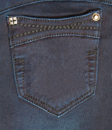 Pocket of jeans  Dark blue  Metal buttons  photo