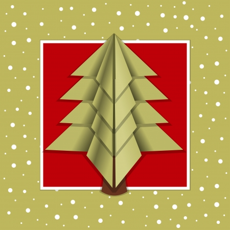Christmas card origami - spruce on a red background  Vector