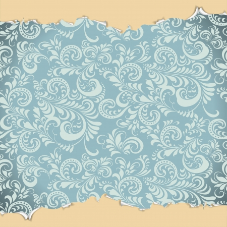tearing: ragged blue wallpaper with a frosty ornament