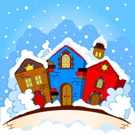 colourful houses: Invierno paisaje urbano coloridas casas en los �rboles, la nieve cae