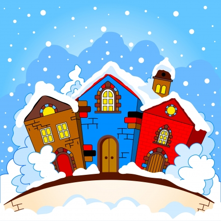 Winter cityscape  Colorful houses in the trees  Snow falls  Vector
