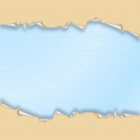 Torn wallpaper beige, blue watercolor paper  Illustration