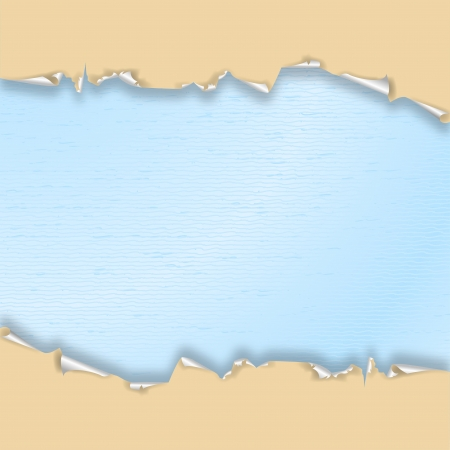 Torn wallpaper beige, blue watercolor paper  Vector