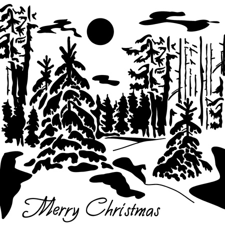 A silhouette of a winter forest  Black and white, can be used for embossing