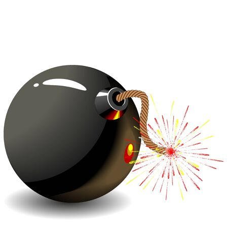 Round black bomb with a burning fuse wire  Stock Photo - 15266345