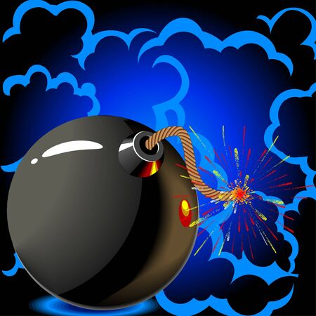 Round black bomb with a burning fuse wire  photo